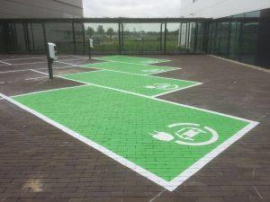 Groene parkeervakken elektrische auto